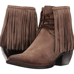 Frye Suede Sacha Fringe Lace up Ankle boots